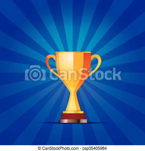 Cup of the winner on a blue striped background - csp35405984