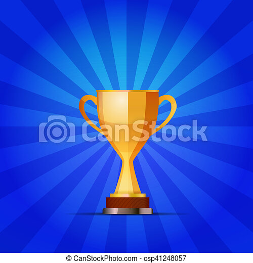 Cup of the winner on a blue striped background - csp41248057