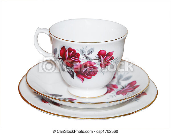 Cup saucer and Plate with Roses - csp1702560