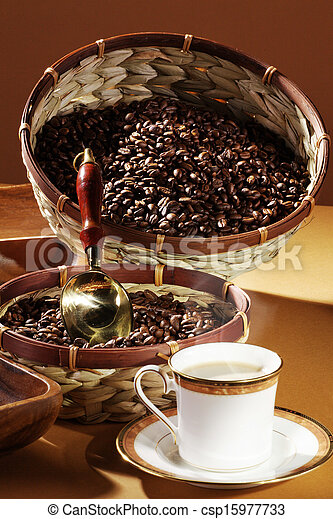 cup with coffee beans - csp15977733
