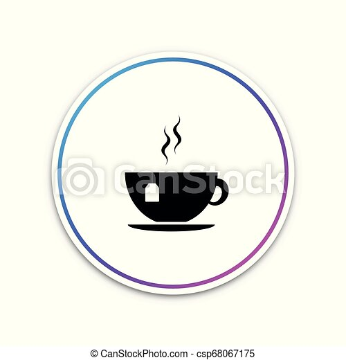 Cup with tea bag icon isolated on white background. Circle white button. Vector Illustration - csp68067175