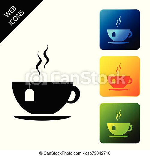 Cup with tea bag icon isolated. Set icons colorful square buttons. Vector Illustration - csp73042710