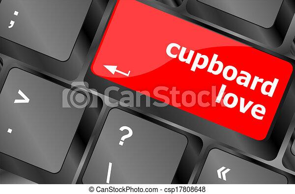 cupboard love words showing romance and love on keyboard keys - csp17808648