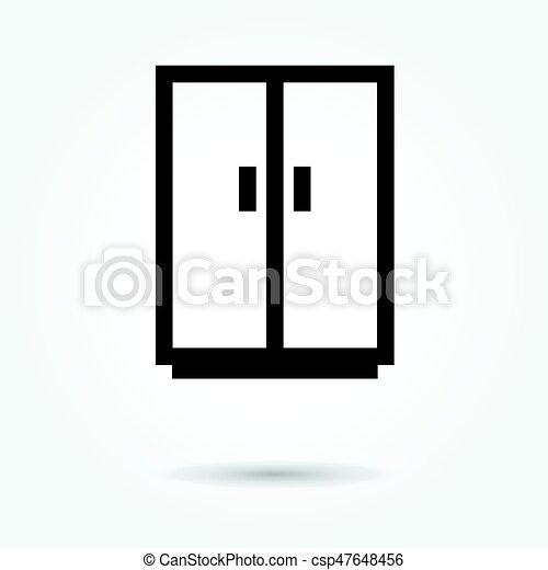 Cupboard wardrobe icon, modern design web element on white background. logo - csp47648456