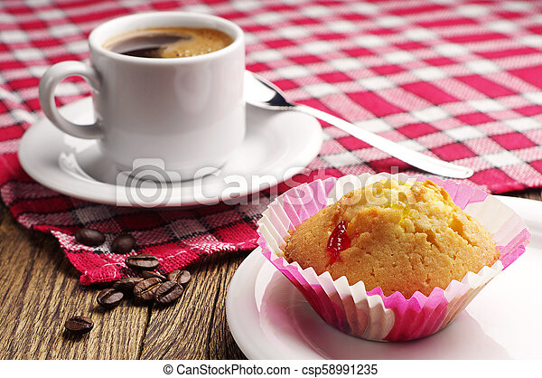 Cupcake and coffee - csp58991235