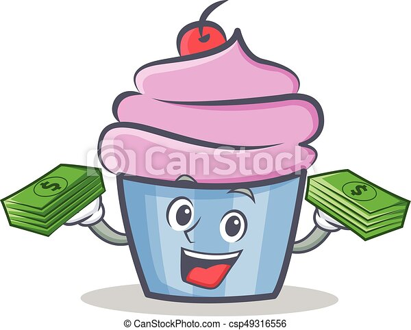 cupcake character cartoon style with money - csp49316556
