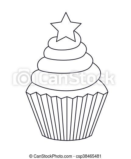 cupcake desenho isolado gostosa ícone gráfico isolado