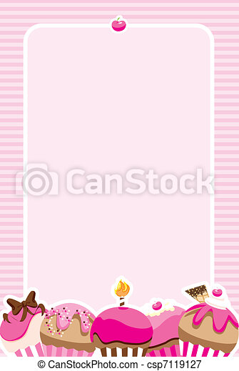 Cupcake Girls Invite/Menu - csp7119127