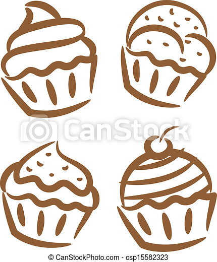 Cupcake icon in doodle style - csp15582323