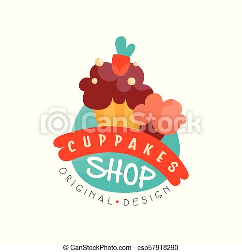 Cupcake shop logo design template, bakery and pastry label vector Illustration on a white background - csp57918290