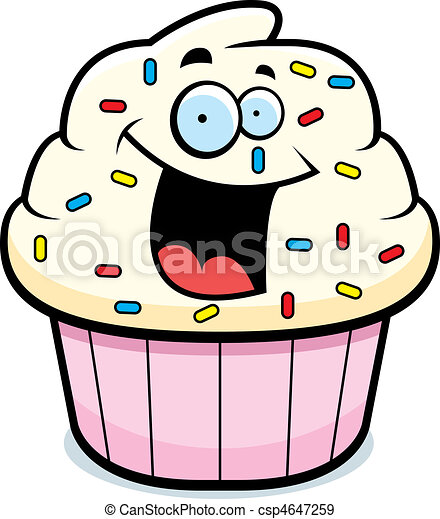 cupcake smiling a cartoon frosted cupcake smiling and happy rh canstockphoto com cupcake cartoon pictures free funny cartoon cupcake pictures