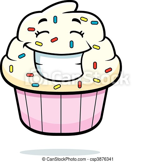 cupcake smiling a cartoon cupcake with sprinkles smiling and happy