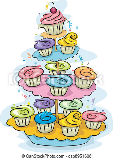 Illustration Of A Cupcake Stand Filled With Cupcakes