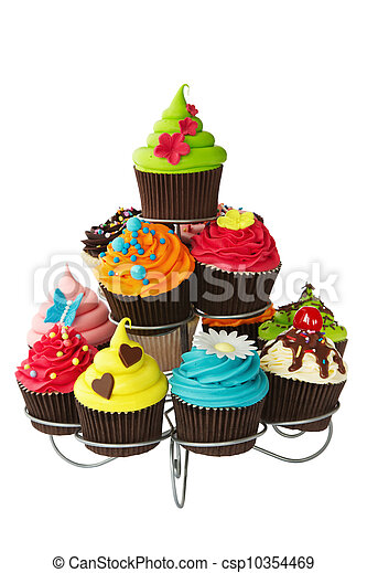 Cupcake Stand Colorful Cupcakes On A Cakestand