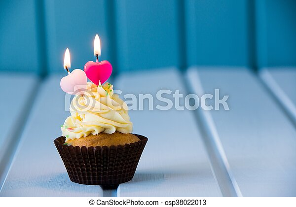 Incredible Birthdays Cake Cupcake With A Heart Shaped Candles For 2 Funny Birthday Cards Online Eattedamsfinfo