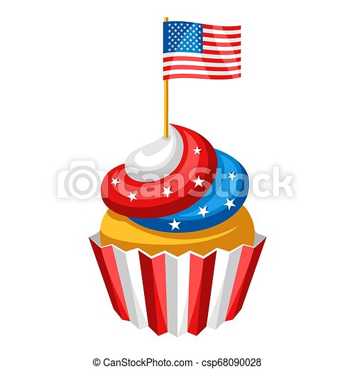 Cupcake with American Flag. - csp68090028