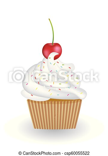 Cupcake with cherry on white background - csp60055522