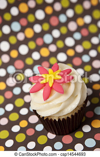 cupcake with colorful background - csp14544693