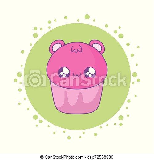 cupcake with face of bear kawaii style - csp72558330