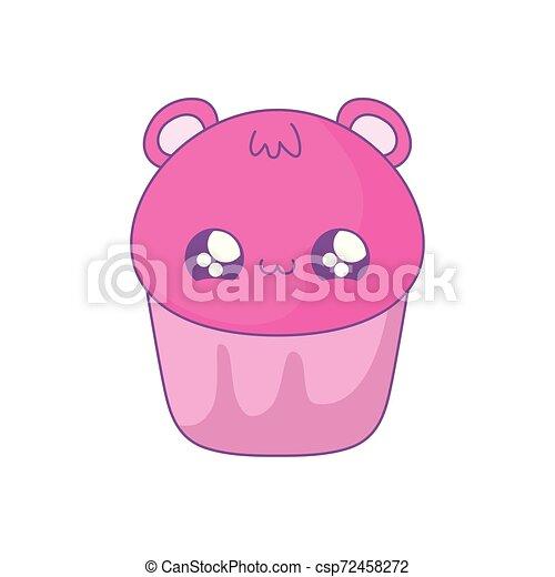 cupcake with face of bear kawaii style - csp72458272