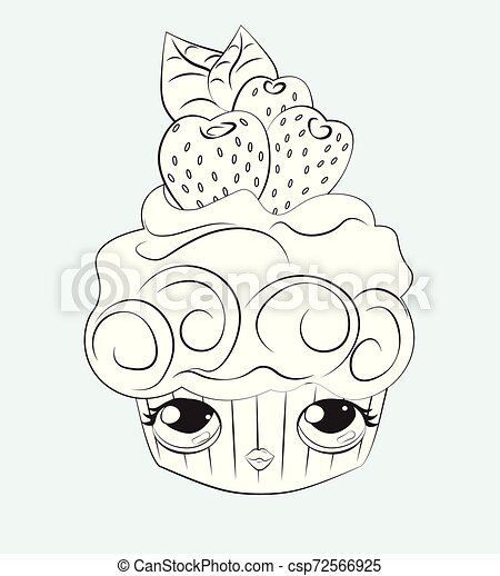 - Cupcake With Funy Face Coloring Book. Cupcake With The Funy Face, And Cream  Decorated With Strawberry, Coloring Book. Can Be