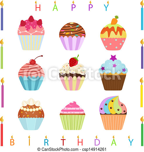 Cupcake With Happy Birthday Candles Vector Icons Cute Cupcake