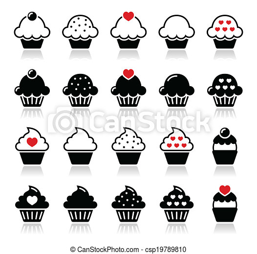 Cupcake with heart, cherry and spar - csp19789810