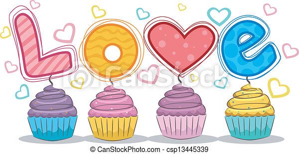 Grficos vectoriales de cupcakes amor  Illustration de
