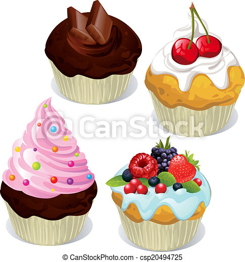 Cupcakes And Muffins Different Flavors And Colors Isolated On