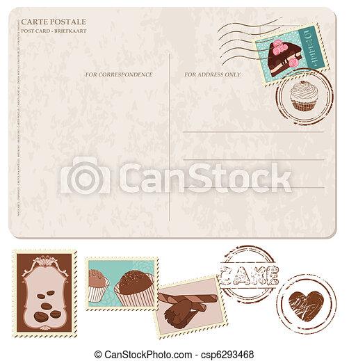 cupcakes, antigas, cartão postal, -, selos, projeto fixo, scrapbooking - csp6293468