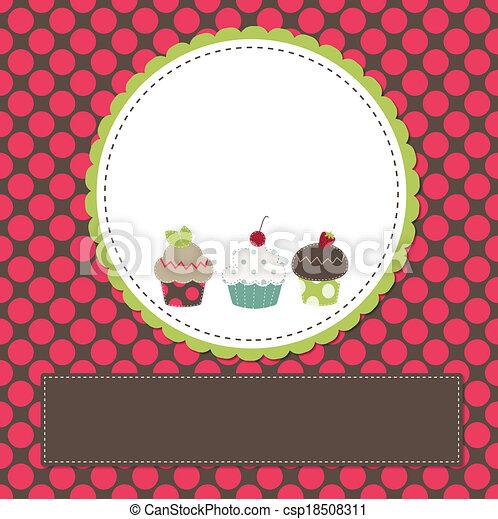 Cupcakes on a retro template - csp18508311