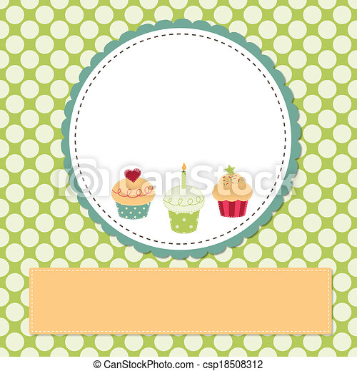 Cupcakes on a retro template - csp18508312
