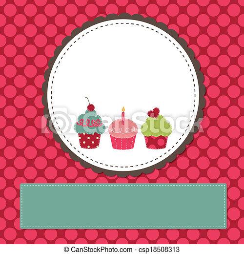 Cupcakes on a retro template - csp18508313