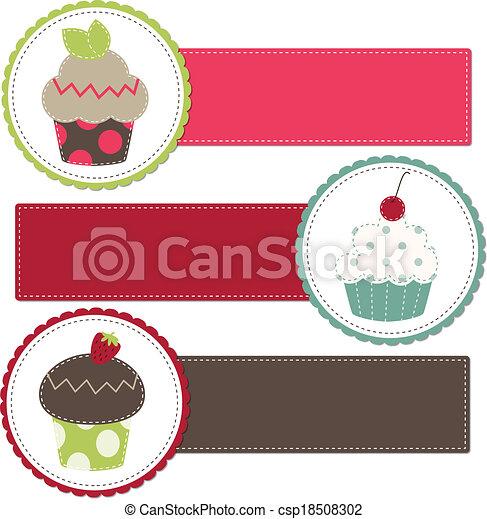 Cupcakes on a retro template - csp18508302