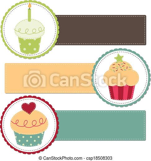 Cupcakes on a retro template - csp18508303