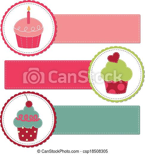 Cupcakes on a retro template - csp18508305