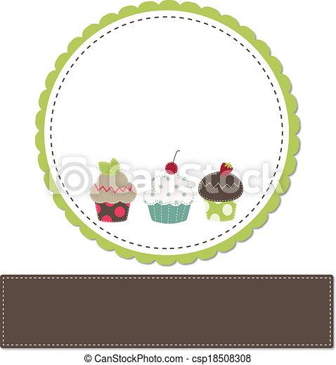 Cupcakes on a retro template - csp18508308