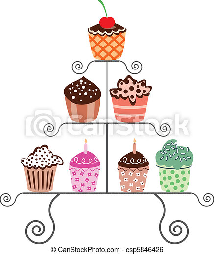 cupcakes on a stand - csp5846426