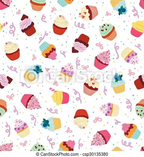 Cupcakes seamless pattern - csp30135380