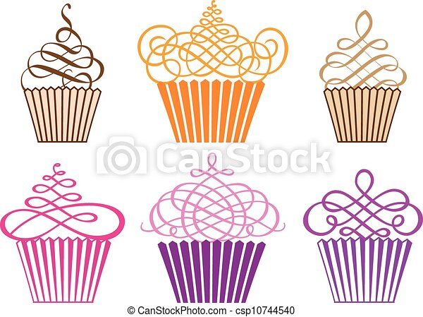 Ein Set Cupcakes, Vektor - csp10744540