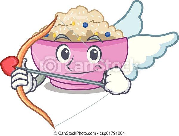 Cupid character a bowl of oatmeal porridge - csp61791204