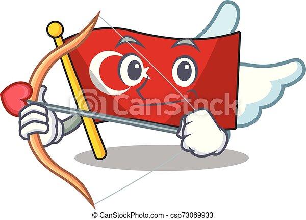 Cupid flag turkey character on shaped cartoon - csp73089933
