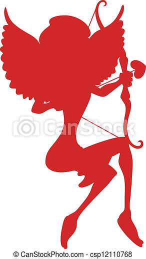 Cupid Girl Silhouette - csp12110768