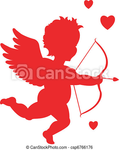 red cupid silhouette valentine s day rh canstockphoto com cupid clip art printable cupid clip art free