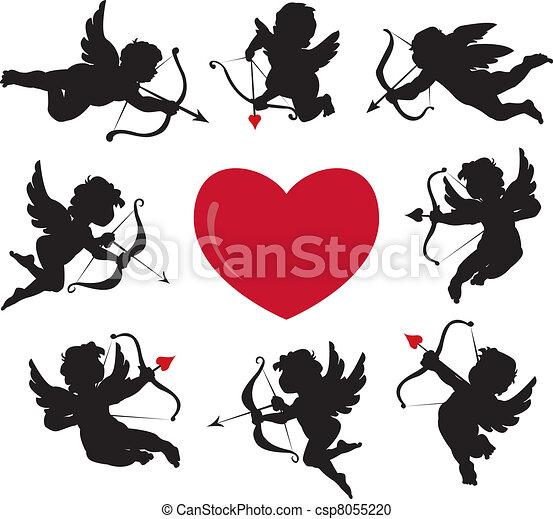 Ensemble cupidon sihouettes - Dessin de cupidon ...