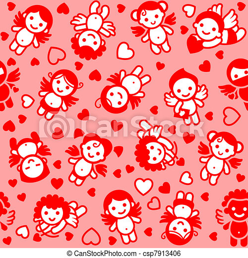 Cupids set, red icons - csp7913406