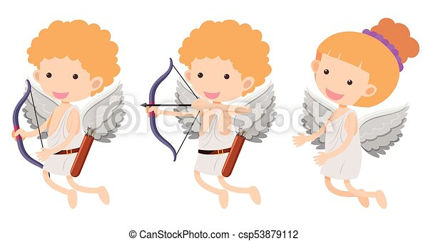 Cupids with bow and arrow - csp53879112