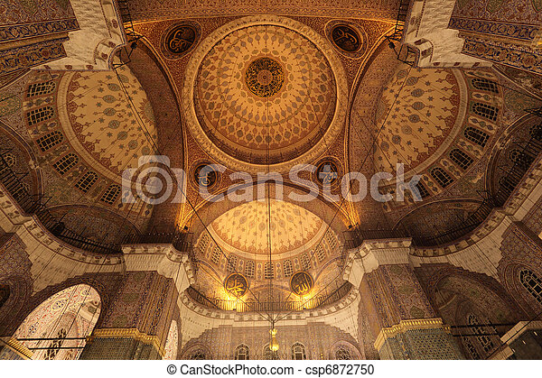 Cupola of the Blue Mosque in Istanbul, Turkey - csp6872750
