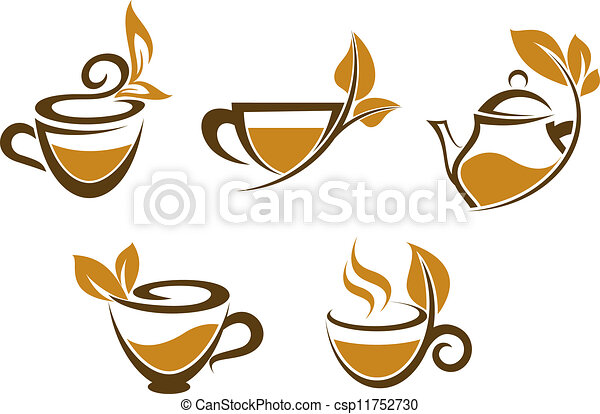 Cups of tea with leaves - csp11752730