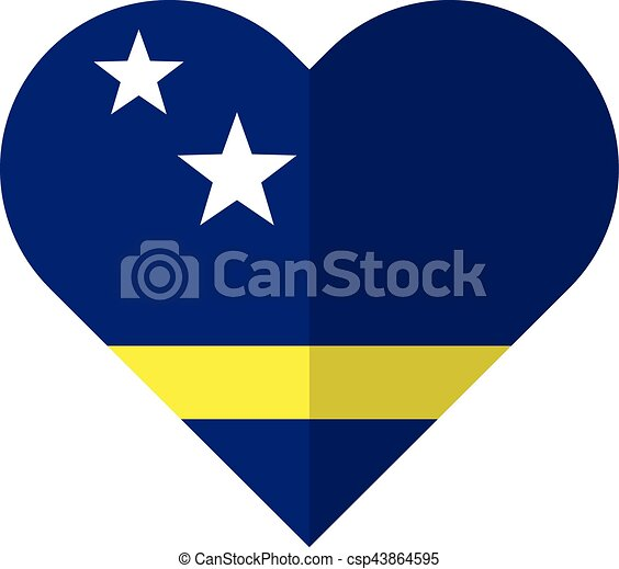 Curacao flat heart flag - csp43864595